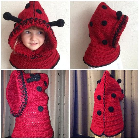 ladybird crochet hooded cowl pattern by Verascrochet on Etsy