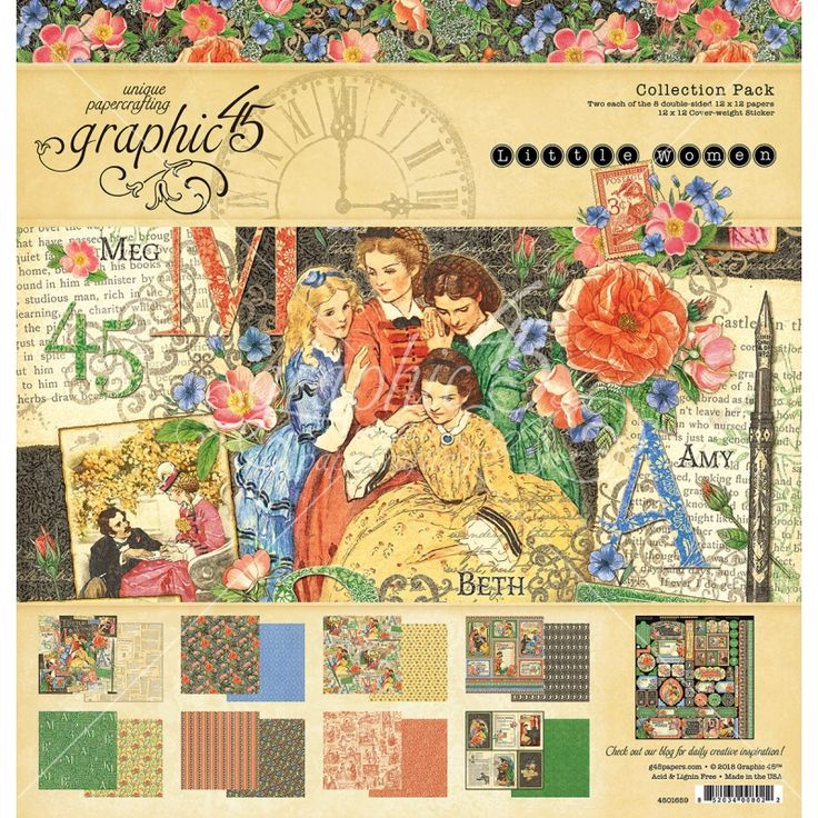 Graphic 45 Little Women Collection Pack, elegant and vibrant designs, themed around the novel titled Little Women which was written by Louisa May Allcot. Perfect for lots of home decor projects, scrapbooking, collage and cards.
