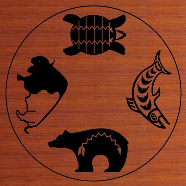 native american symboles buffalo bear turtle salmon