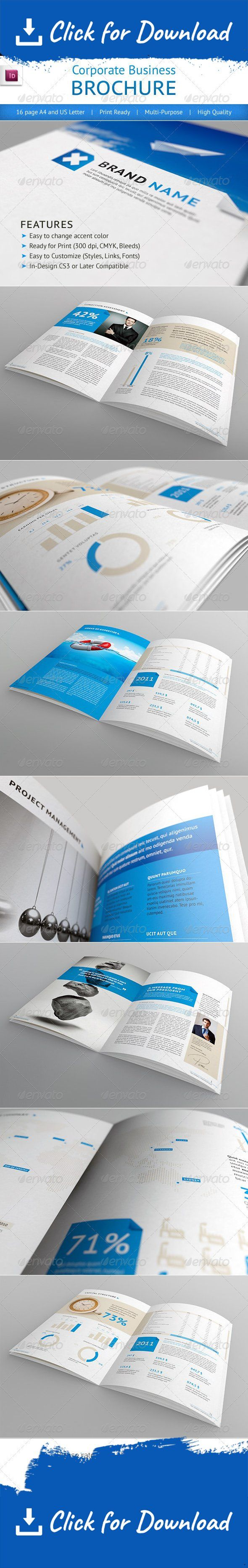 This is a 16 page professional In-Design brochure perfect for corporate business that needs clean, professional, modern brochure template design.   	Easy to edit, you can change Blue accent color throughout the whole document at once, paragraph and character styles included, text and images placed on separate layers, text aligned to grid. Resolution 300dpi / CMYK color / bleeds 3mm. Print dimensions: International A4 (210×297mm / 8.2×11.7in), US Letter (8.5×11in) 16 pages. Al...
