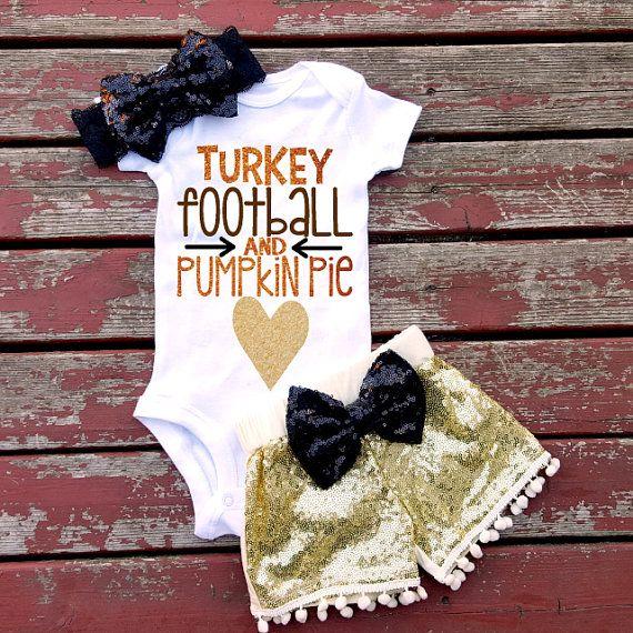 Turkey Football and Pumpkin Pie Baby Girl by GLITTERandGLAMshop