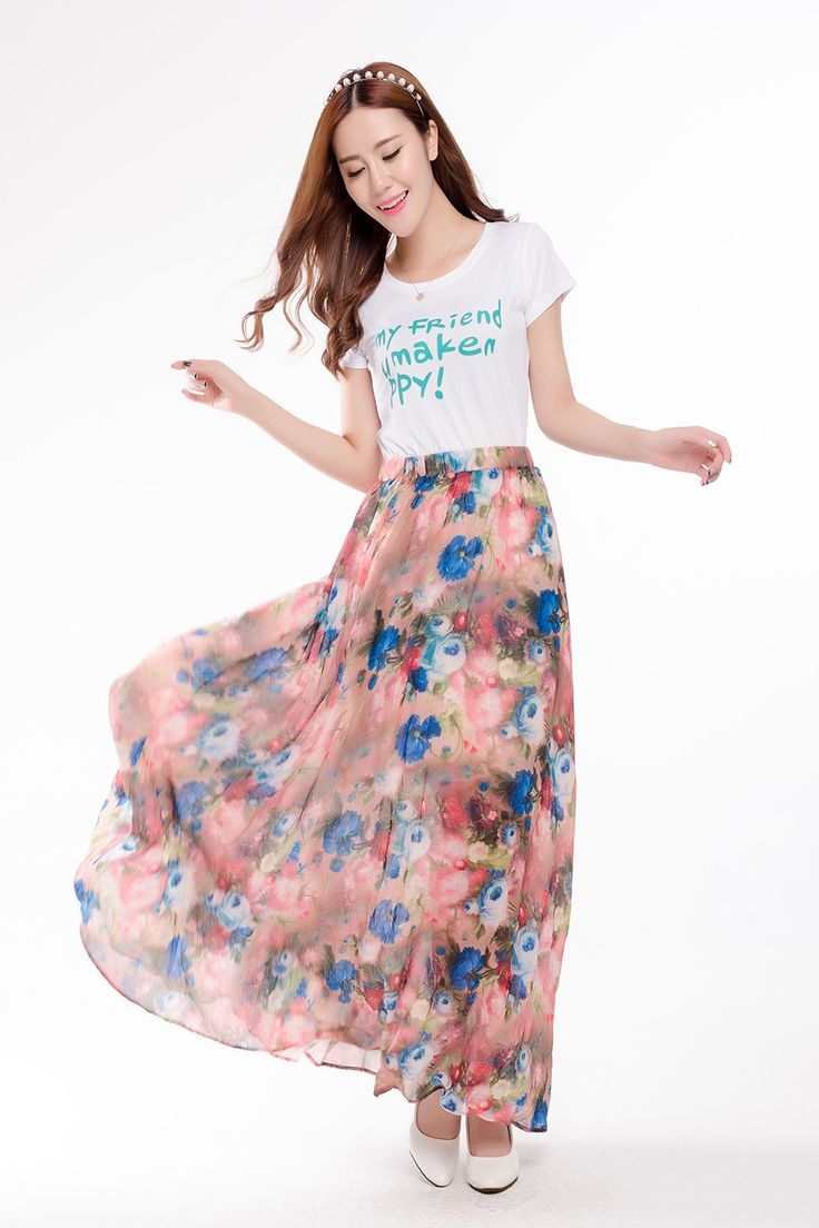 Floral Print Maxi Skirts Chiffon | Dresscab