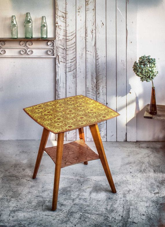 Luxe-Upcycling. Mid-Century Sidetable with a by ReclecticEmporium