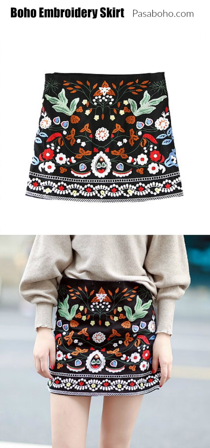 A Boho Embroidery Skirt - $33 is now available at Pasaboho. This skirt exhibit brilliant colours with unique embroidered patterns.