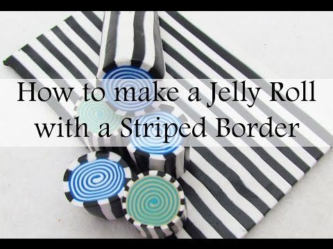 How to make a polymer clay jelly roll cane with striped border - YouTube