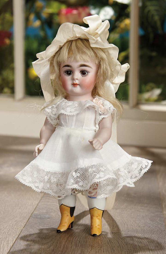German All-Bisque Doll, 184, with Painted Yellow Ankle Boots, by Kestner. 1890.