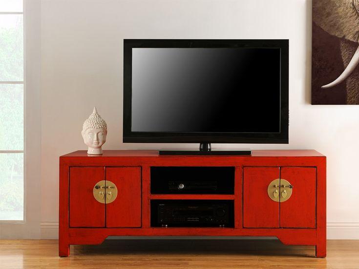 Meuble TV FOSHAN - 4 portes, 2 niches - Bois d'orme -Rouge