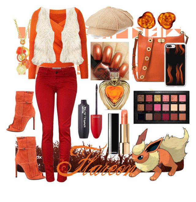 """""""Flareon inspired set"""" by dj-alykat ❤ liked on Polyvore featuring WithChic, Hollister Co., Gucci, Scala, Be-Jewelled, Michael Kors, Huda Beauty, Revlon, Antica Murrina and Casetify"""