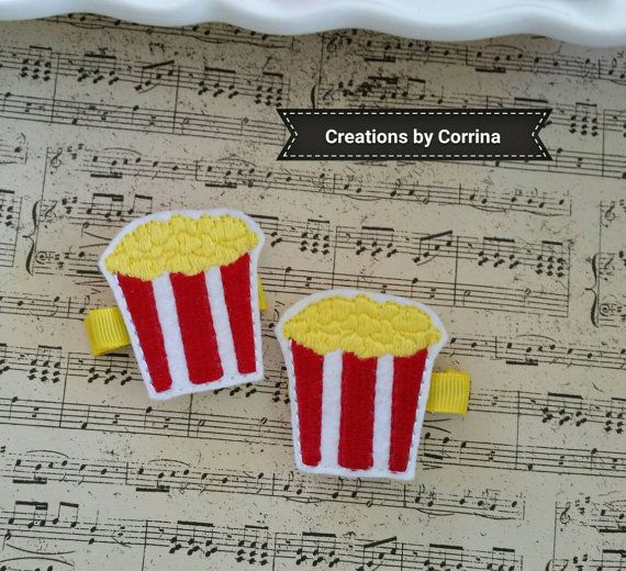 Felt Hair Clips Set  Cute Popcorn Bucket Clips  Handmade