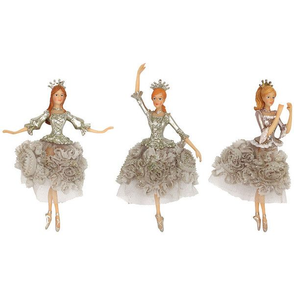 Gisela Graham Fabric Skirt Fairy Tree Decorations - Set of 3 ($51) ❤ liked on Polyvore featuring home, home decor, holiday decorations, neutral, fairy home decor, fabric home decor, christmas tree decorations and xmas tree decorations