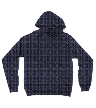Meshed Blue Hoodie by Terrella.  A pattern of horizontal and vertical diamonds with links between the bars.  This is the blue steel version.