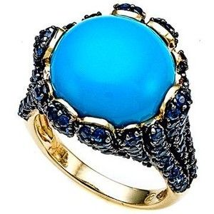 6.54 cttw Carlo Viani® 7mm BlueTurquoise Ring with Blue Sapphires in 14k Yellow Gold Size 8: Finejewelers: Jewelry