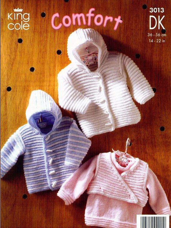 9849455261dd Knit Baby Hooded Jacket Sweater and Vest di VintagePatternPDF ...