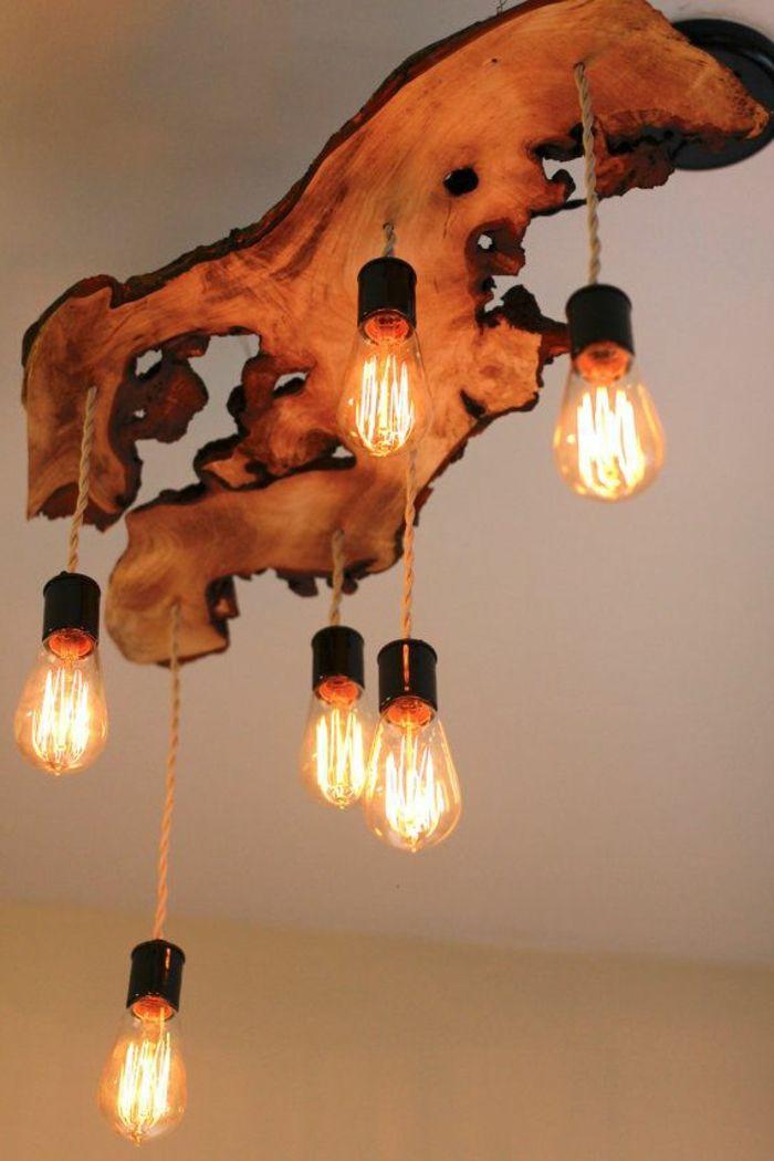 meubles en bois brut, plafonnier magnifique