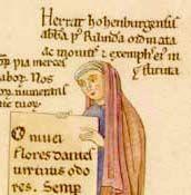 """30-10-Ritratto di HERRADE di LABSBERG(1130-1195) contenuto nel manoscritto miniato che contiene la sua opera""""Hortus deliciarum""""la prima ENCICLOPEDIA scritta da una donna tra il-1175-1185 .Herrade sviluppo'un tema antico,la battaglia tra'il VIZIO e la VIRTÙ.Diversamente dalla maggioranza dei manoscritti medioevali,qui le immagini visive precedono e quindi condizionano le immagini verbali del testo."""