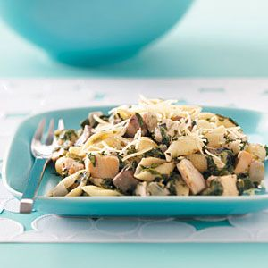 """Chicken & Spinach Pasta Recipe -""""One of my favorites! Can't remember where I got this recipe, but I make it often. You can also double the amounts and freeze the leftovers. I enjoy it because it's tasty enough—and thick enough—to eat even without the pasta!"""" Pamela Ziemer - Hutchinson, MN"""