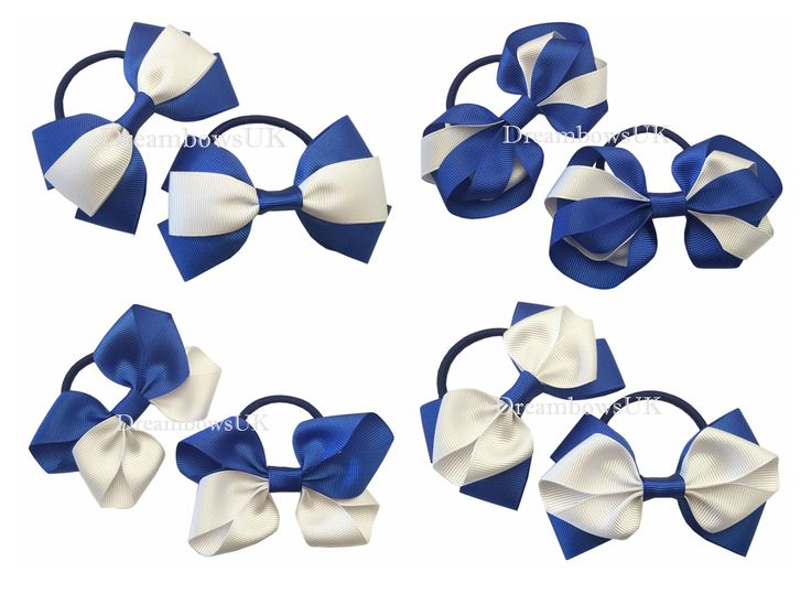 Royal blue and white grosgrain ribbon hair bows on thick bobbles, girls school hair accessories, handmade hair bows and accessories
