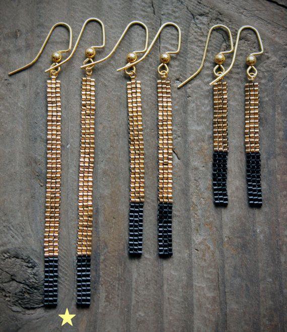 Long 18K Gold Plated Bead Bar Earrings by AYAJewelryStudio on Etsy