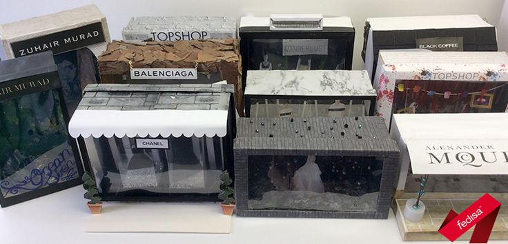 Window display proposals for high fashion brands, created in small-scale using shoeboxes and paper. Shoeboxes sponsored by Zoom Footwear. [2nd year 2015]
