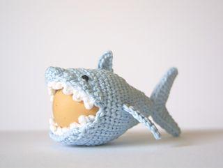 Crocheted shark egg cozy