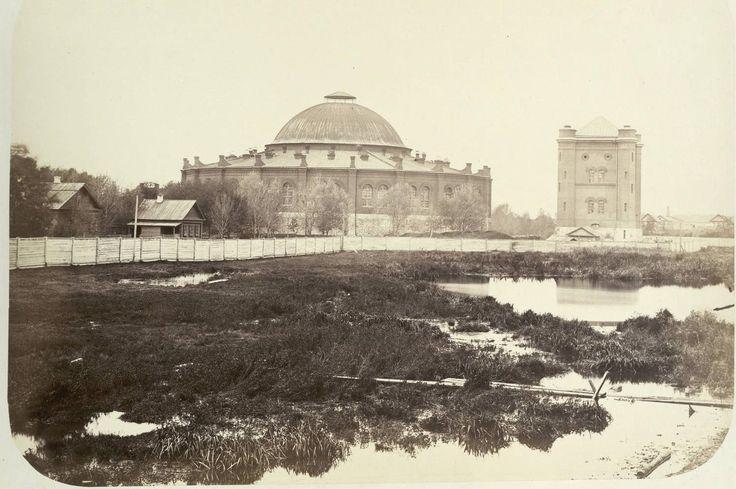 Иосиф Гофферт - 1862 -  Красный пруд, паровозное депо и водокачальня при Московской станции Николаевской дороги.