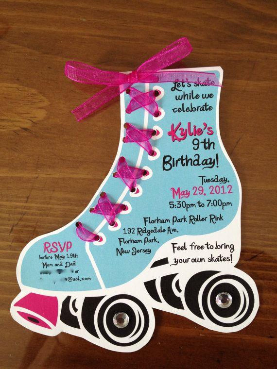 10 invitaciones Roller Skate por LilliDesignLLC en Etsy                                                                                                                                                                                 Más
