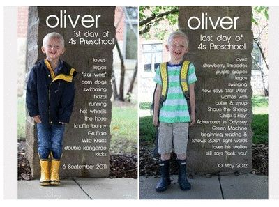 Idea for first day of preschool, and last day of preschool. I like how the information was added digitally to the column in the picture!