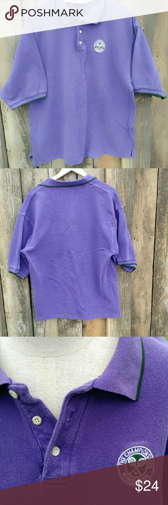 """Wimbledon XXL Tennis Embroidered Polo Shirt True shade of Wimbledon purple, this 100% cotton pique short sleeve shirt comes from the Wimbledon museum in England. With the official embroidered """"The Championship"""" design on the chest, this top's a classic. Wimbledon Tops"""