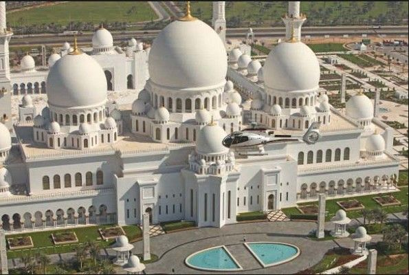 Grand Mosque, its also known as Sheikh Zayed Mosque, located in Abu Dhbai, This is the third biggest mosque in the world.