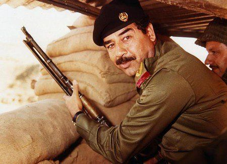 Saddam Hussein during the Iran–Iraq War.