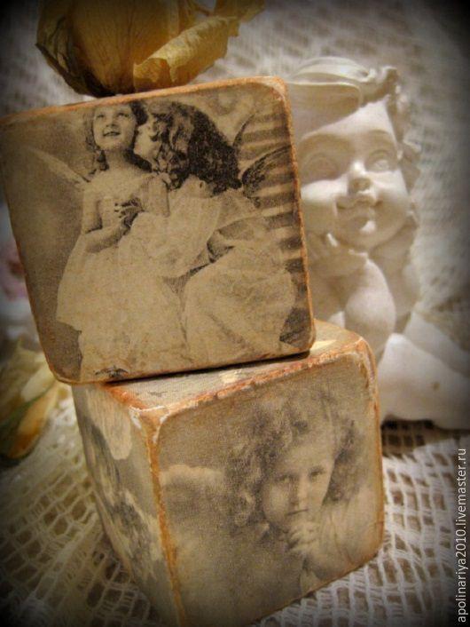 """Купить Кубики """"Винтажные Ангелы"""" - кубики, винтаж, Декупаж, винтажный стиль, детки, серый, интерьер"""