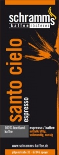 Unser Angebot des Monats Januar 2013!  Santo Cielo, der mittelkräftig bis kräftig geröstete Espresso besitzt einen vollen Körper mit einem nussigen Aroma. Mit seiner guten Crema ist diese Espressoröstung sehr gut für Vollautomaten geeignet. Der Santo Cielo ist auch als Kaffee ein Genuß.