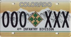 4th Infantry Division License Plate