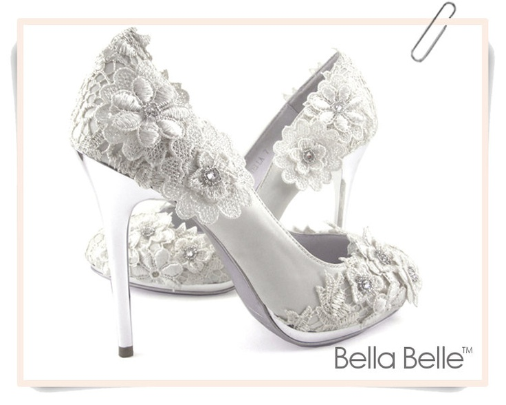ivory vintage lace wedding shoes with crochet flower applique satin bridal pumps silver