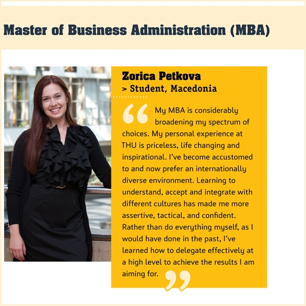 With the Master of Business Administration degree programme, you learn to inspire and motivate colleagues and tackle management problems based on an extensive knowledge of business processes, economics and finance. You will acquire the skills to strategically work in any and all facets of business.