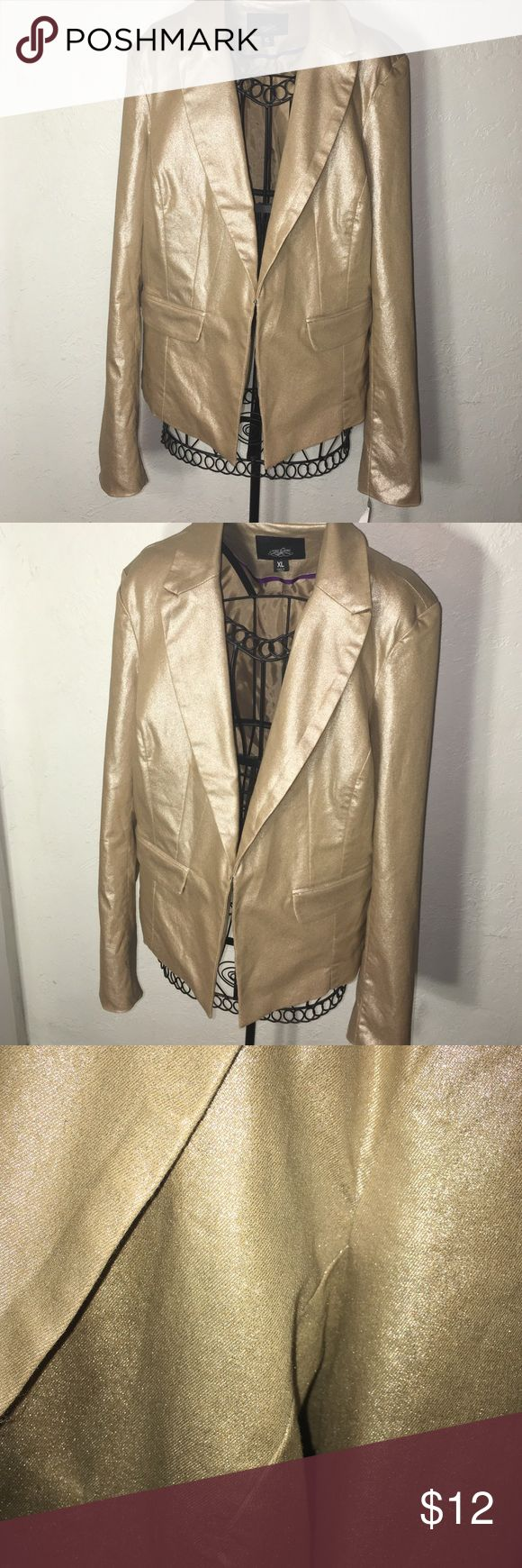 Sparkly champagne gold blazer Sparkly champagne gold blazer with shoulder pads and hook latch. Never worn before. one5one Jackets & Coats Blazers