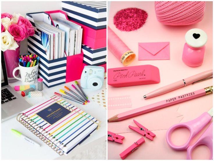 Material de escritório rosa