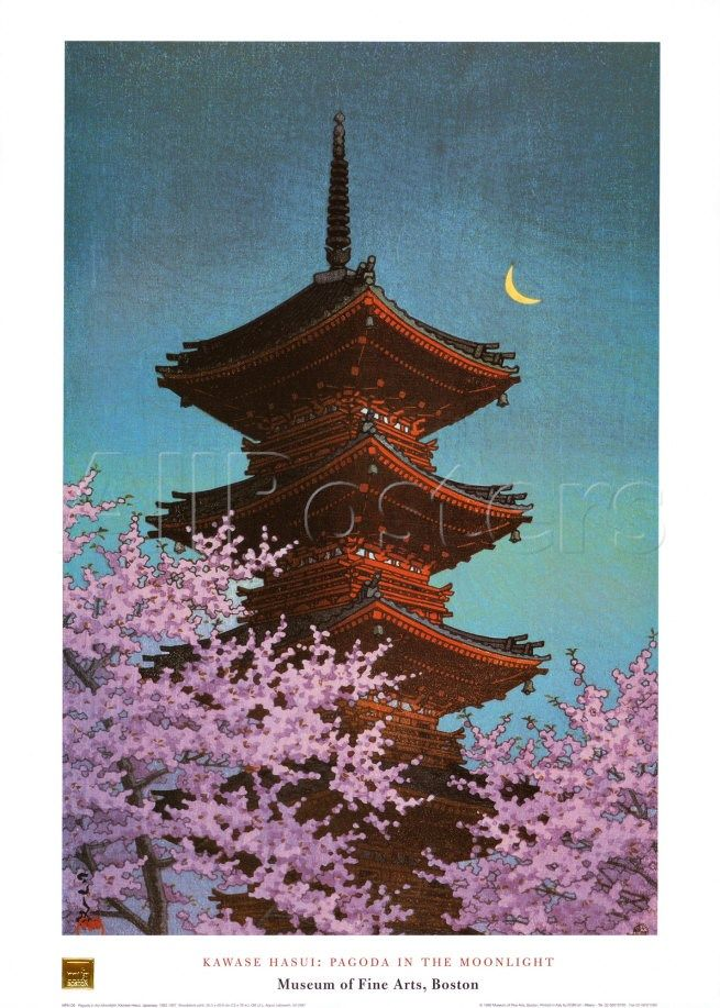 Pagoda in Moonlight Prints by Kawase Hasui - AllPosters.co.uk