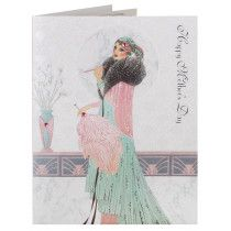 Deco Smoking Lady Marble Moon Mother's Day Card