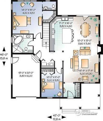 Rez-de-chaussée Bungalow confortable, 2 grandes chambres, plafond 9', foyer centralisé