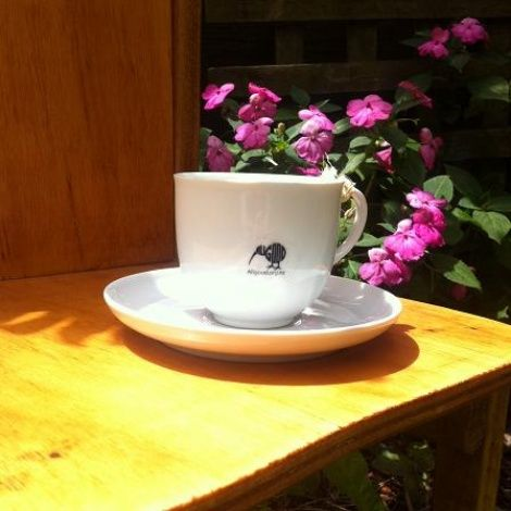 """White Tea Cup and Saucer Set """"Cherry Blossom""""Buy now from www.allgoodliving.co.nz. Free shipping for orders over $100"""