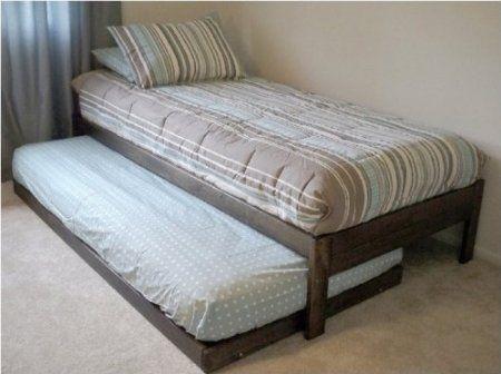 amazoncom santa cruz extra long twin bed with twin trundle rustic walnut - Extra Long Twin Bed Frame