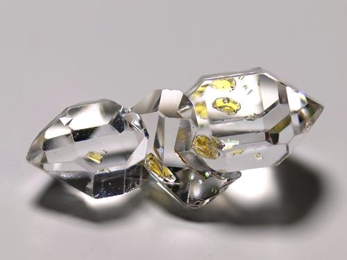 Herkimer diamond (Double terminated Quartz) cluster with fluid inclusions.