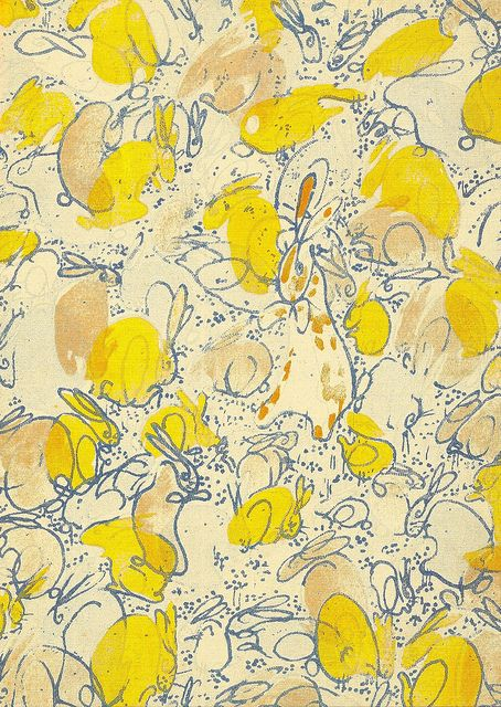 Velveteen endpapers from The Velveteen Rabbit (1922) by William Nicholson