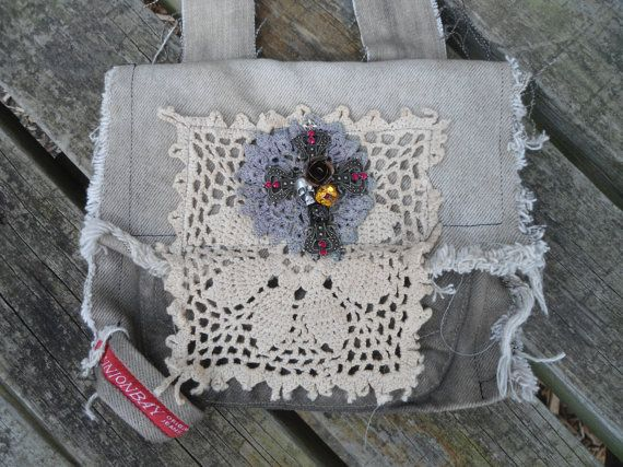 Upcycled Khaki Shoulder Crossover Purse by LandofBridget on Etsy