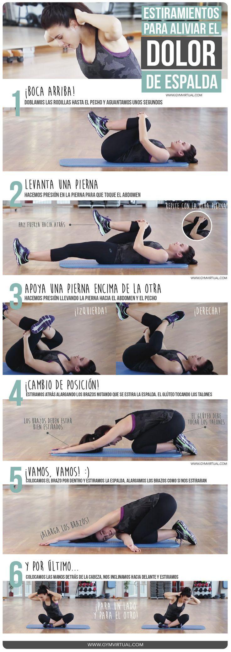 6 estiramientos para el dolor de espalda #infografía #estiramientos #espalda
