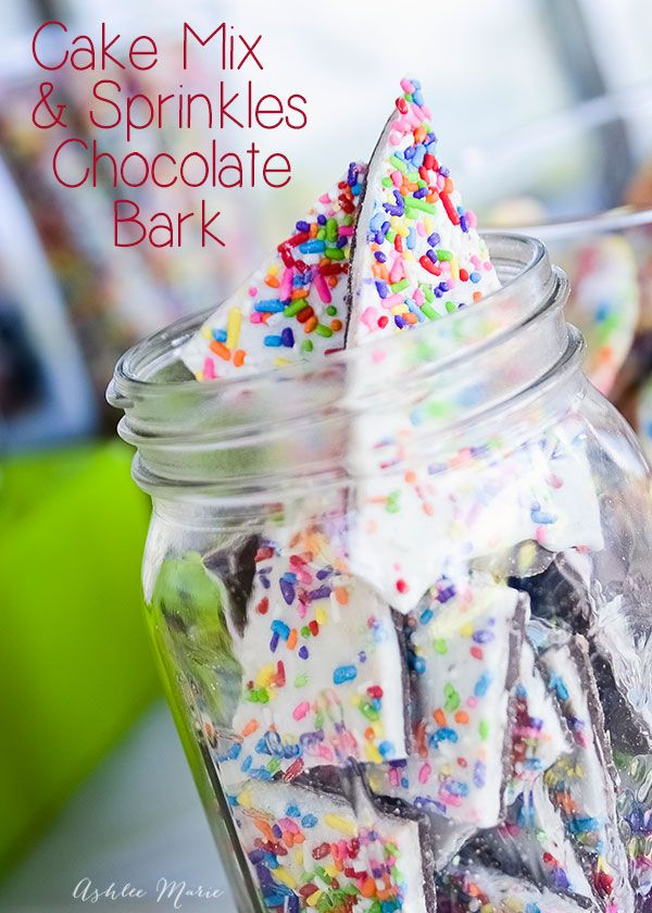 this cake mix & sprinkles chocolate bark are easy and delicious