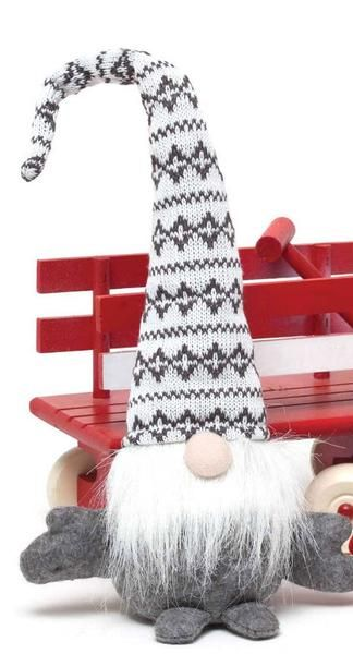 """Sweet little Alphine Sweater Hat gnomes ready for your Christmas decor. Available in red or grey hat. Measures 16""""."""