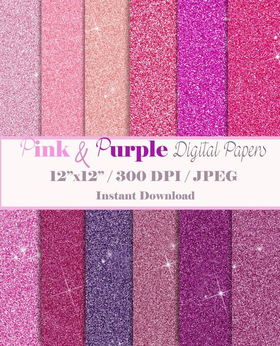 Glitter Digital Paper / Pink and Puple Sparkles Paper/ Printable Digital Papers /Scrapbooking / Printable Paper