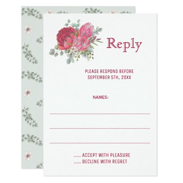 Protea Flowers Wedding Reply Cards